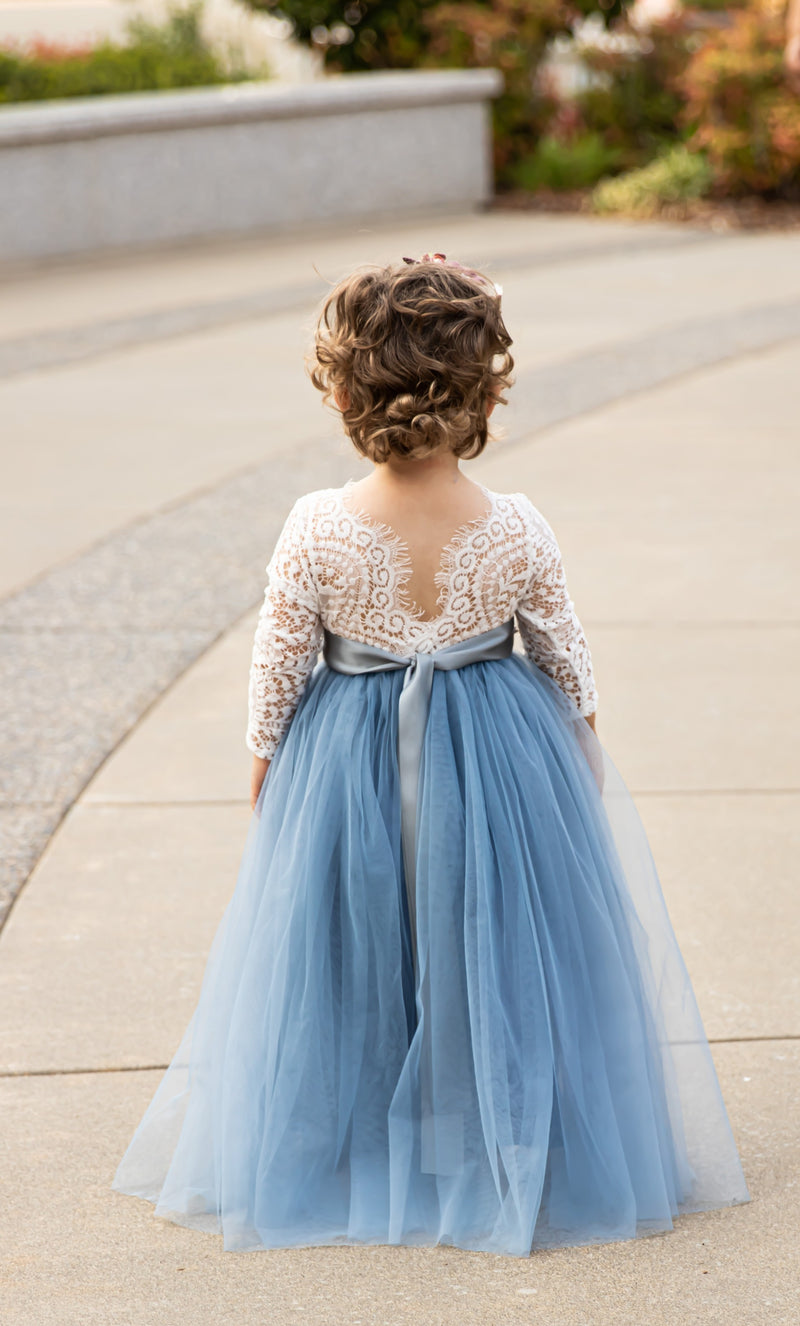 Dusty Blue Tulle Lace Top Scalloped Edges Back Party Flower Girl Dress