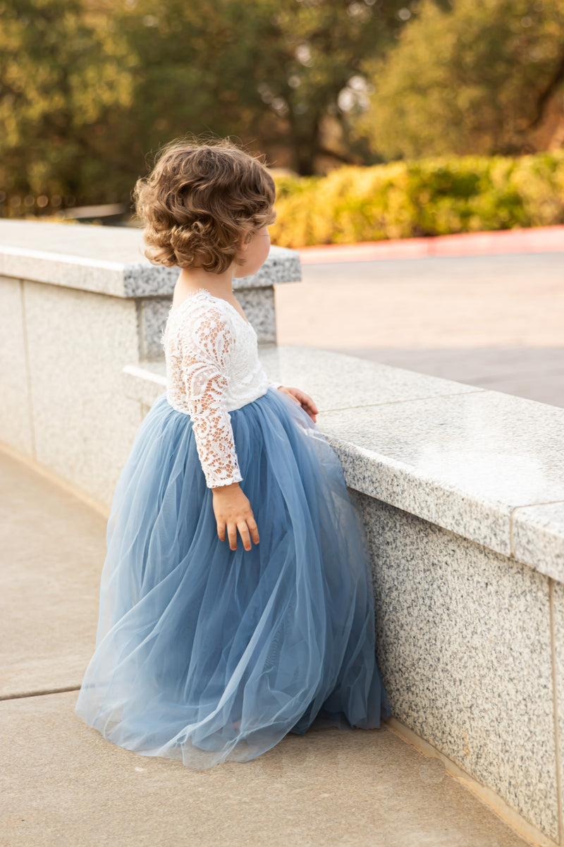 Full Length Maroon Tulle Lace Top Scalloped Edges Back Party Flower Girl Dress