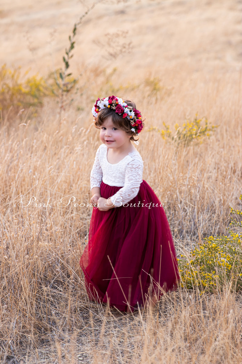 Maroon Tulle Lace Top Scalloped Edges Back Party Flower Girl Dress