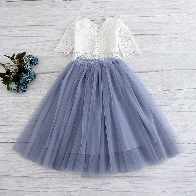 White Lace Top and Bluish GreyTulle Skirt Set