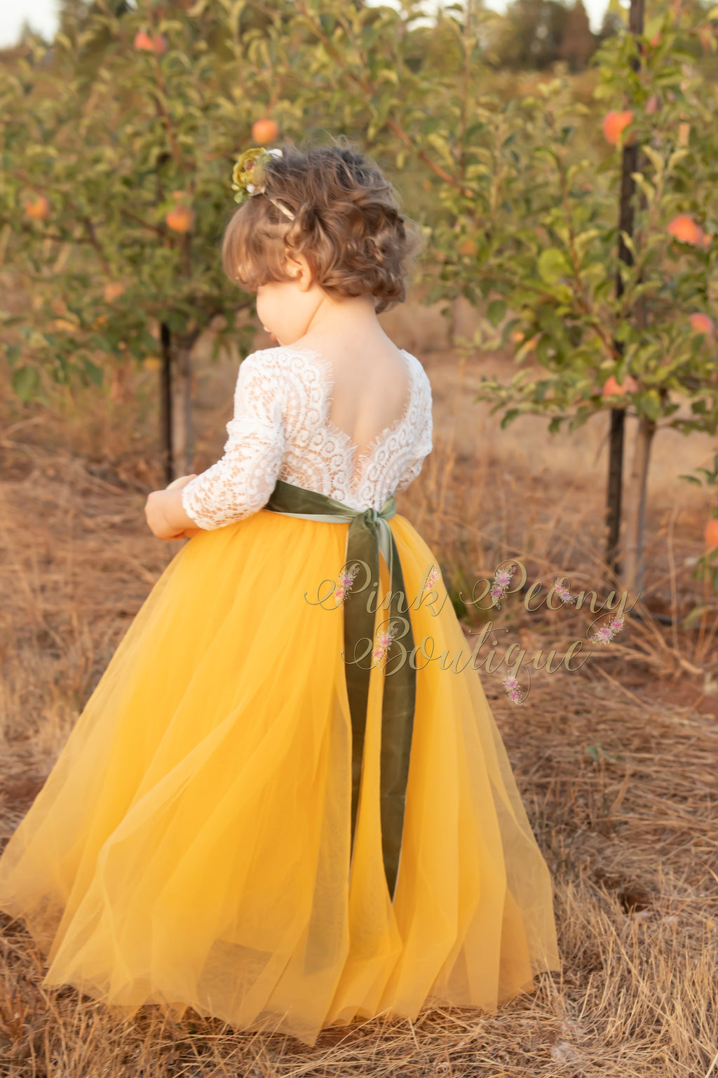 Mustard Yellow Tulle Lace Top Scalloped Edges Back Party Flower Girl Dress
