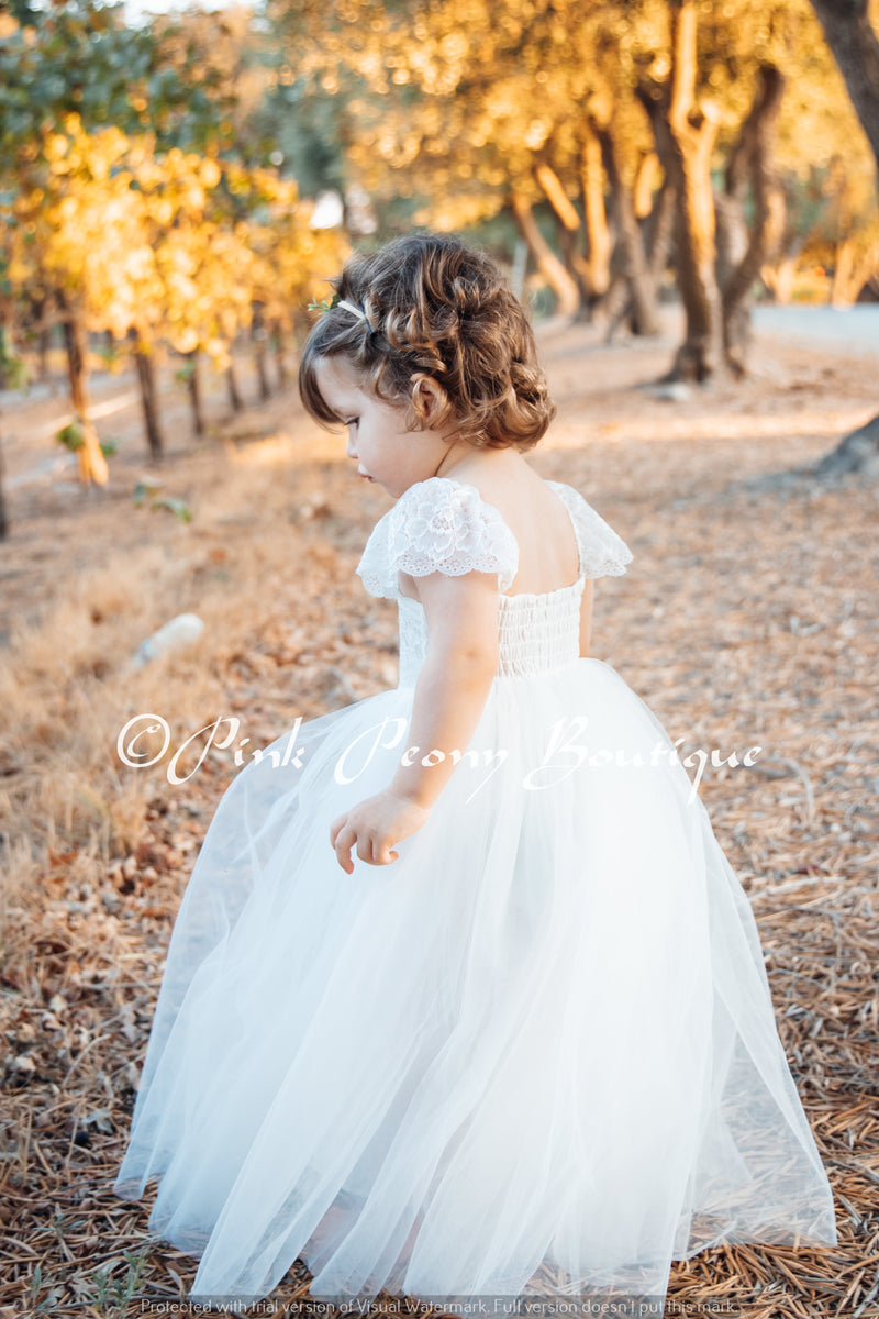 Full Length Navy Tulle Lace Top Scalloped Edges Back Party Flower Girl Dress