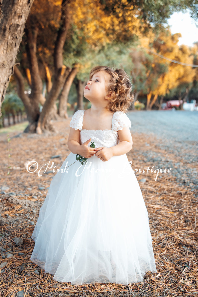 Full Length White Tulle Lace Dress