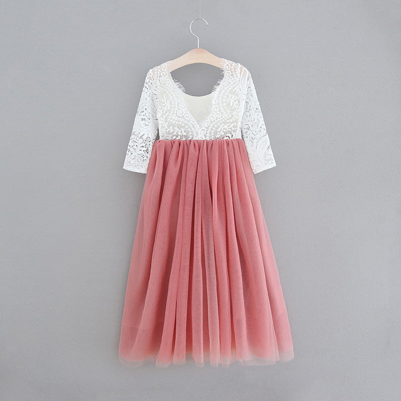 Full Length Dusty Rose Tulle Lace Top Scalloped Edges Back Party Flower Girl Dress