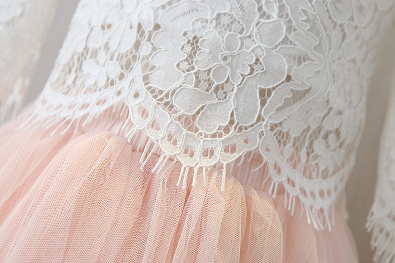 White Lace Top and Pink Tulle Skirt Set