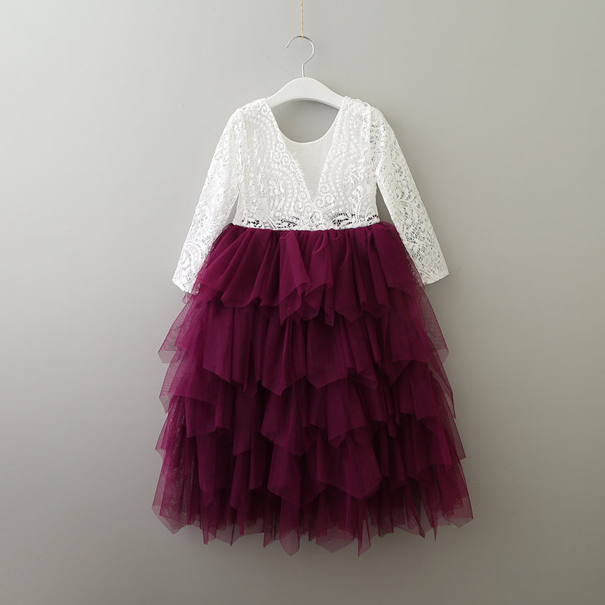 Tea Length Sangria Tiered Tulle Tutu Lace Top Scalloped Edges Back Party Flower Girl Dress