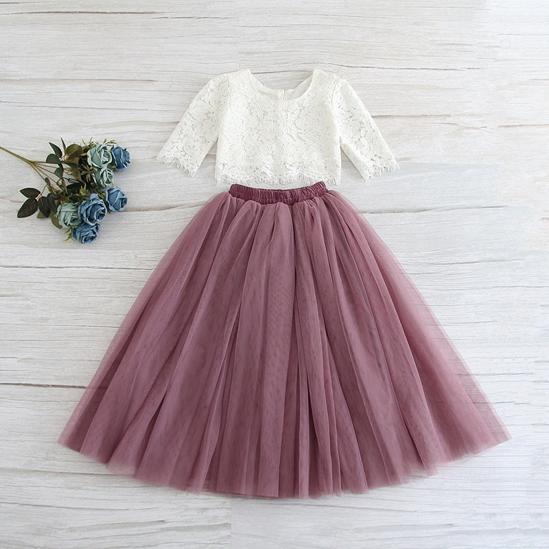 White Lace Top and Mauve Skirt Set