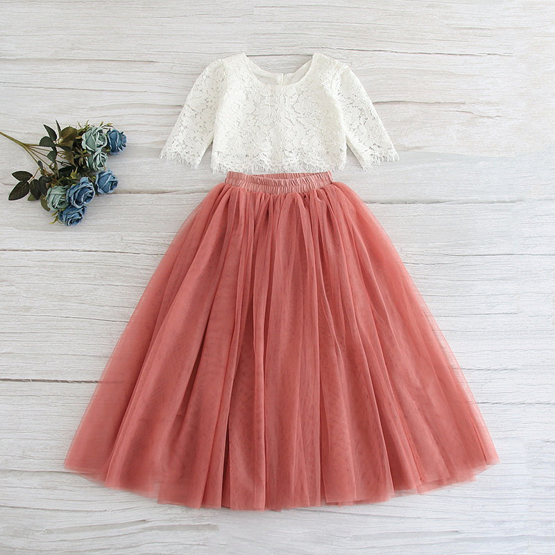 White Lace Top and Dusty Rose Tulle Skirt Set