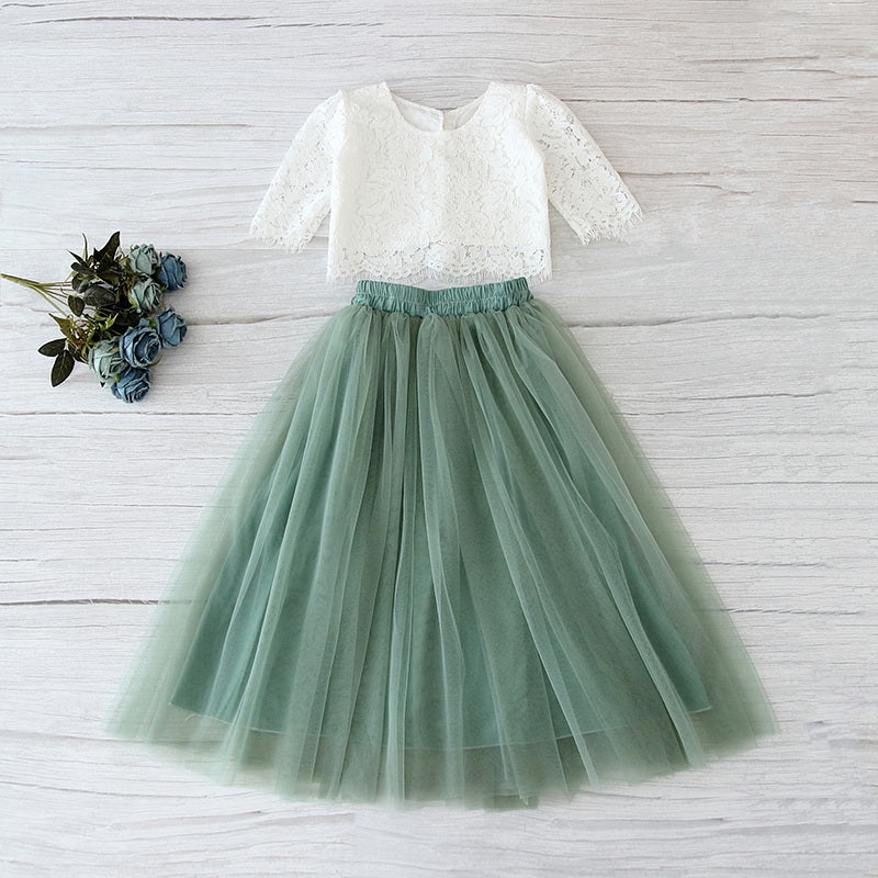 White Lace Top and Sage Green Tulle Skirt Set