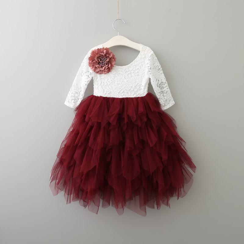High low wine red boho flower girl dress