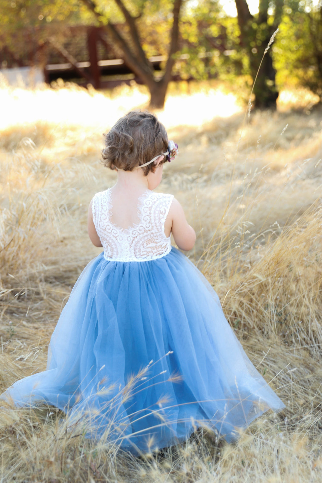 ull Length Sleeveless Dusty Blue Tulle Lace Top Scalloped Edges Back Party Flower Girl Dress