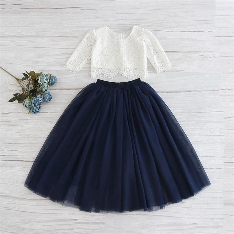 White Lace Top and Navy Skirt Set
