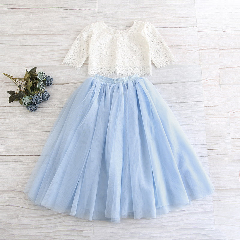 White Lace Top and Ice Blue Tulle Skirt Set