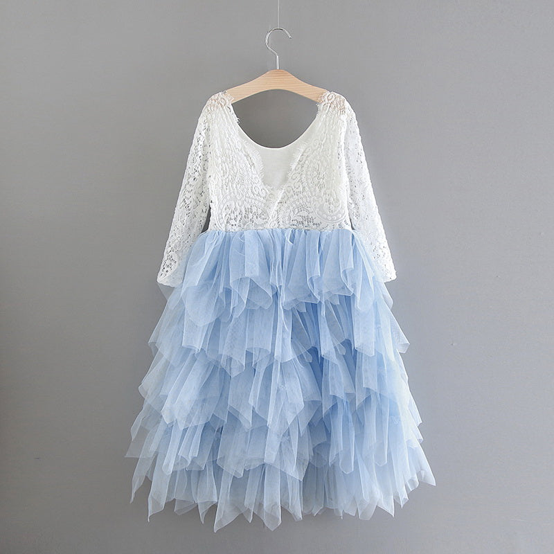Tea Length Ice Tiered Tulle Tutu Lace Top Scalloped Edges Back Party Flower Girl Dress
