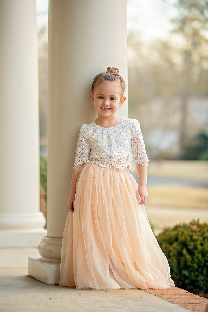 White Lace Top and Champagne Tulle Skirt Set