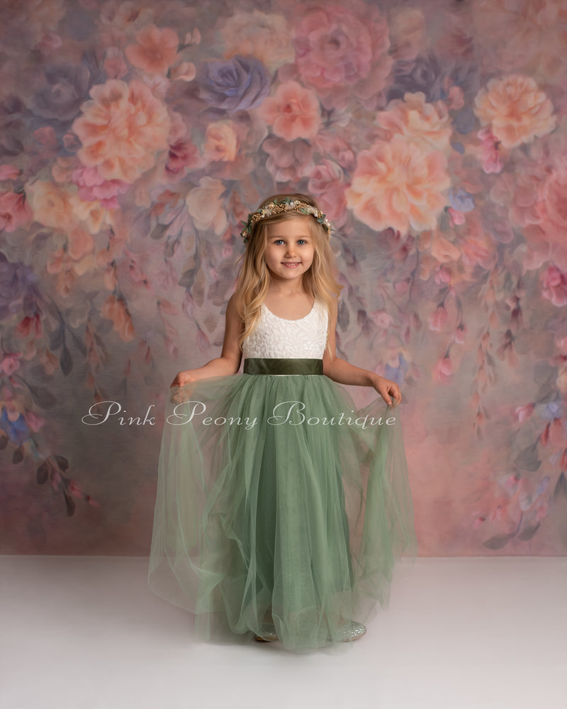 Full Length Sleeveless Sage Green Tulle Lace Top Scalloped Edges Back Party Flower Girl Dress