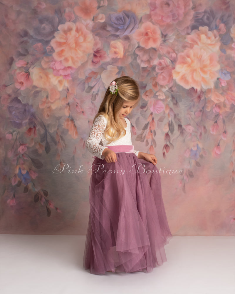 Full Length Mauve Tulle Lace Top Scalloped Edges Back Party Flower Girl Dress