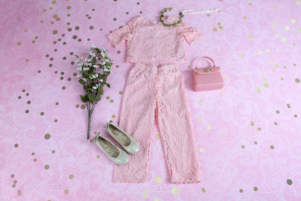 ROSE PETAL LACE TOP AND PANTS SET