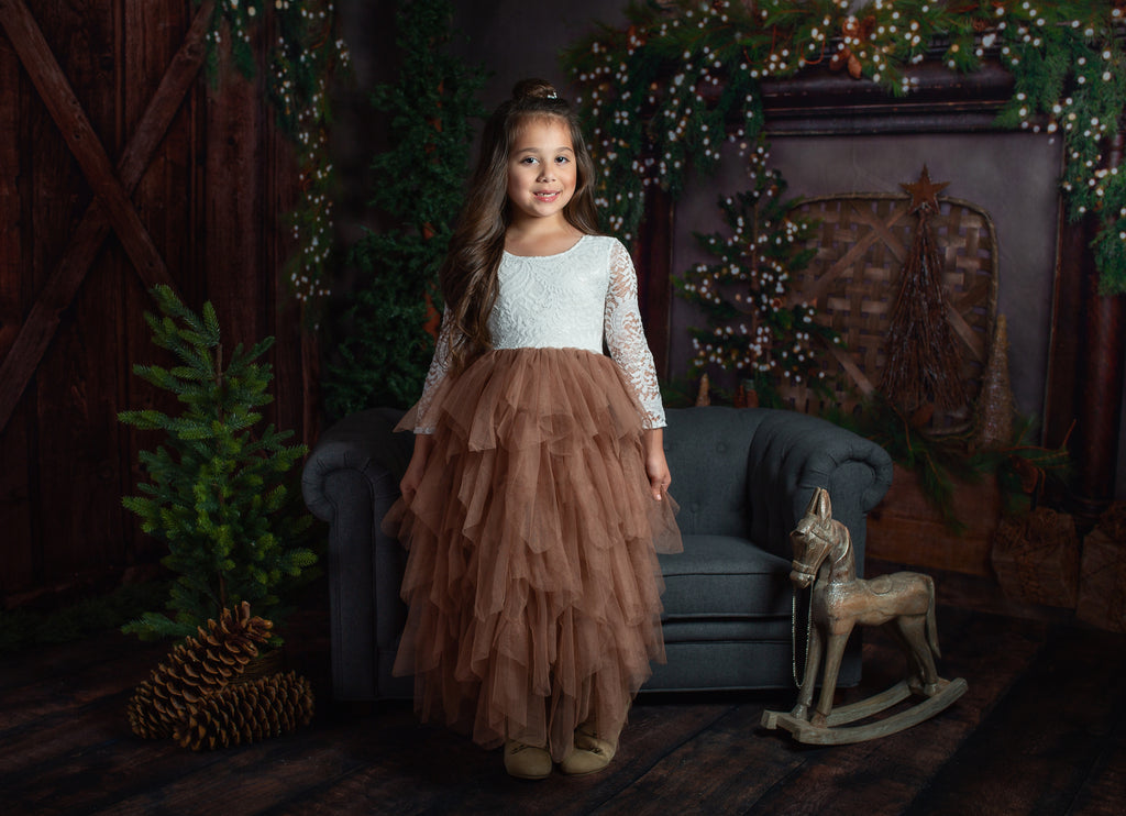 Tea Length Brown Tiered Tulle Tutu Lace Top Scalloped Edges Back Party Flower Girl Dress