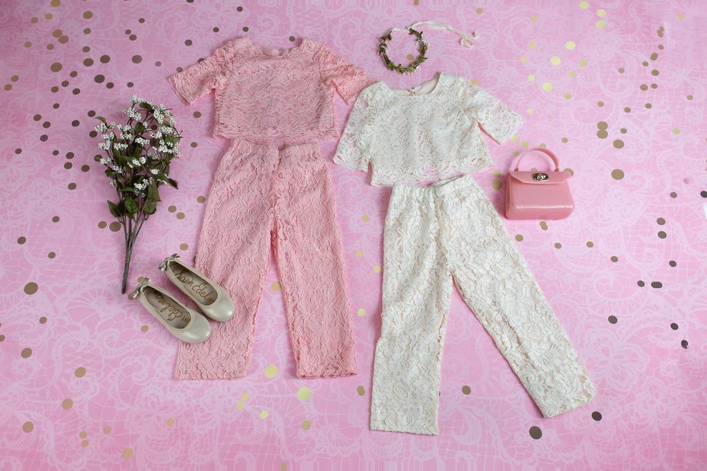 IVORY PETAL LACE TOP AND PANTS SET