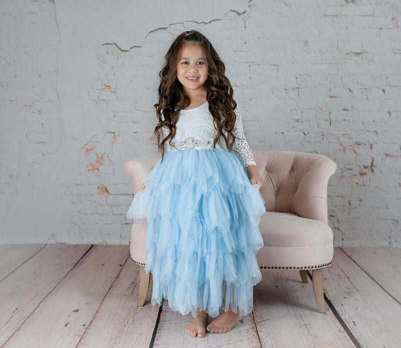 Tea Length Bluish Grey Tiered Tulle Tutu Lace Top Scalloped Edges Back Party Flower Girl Dress