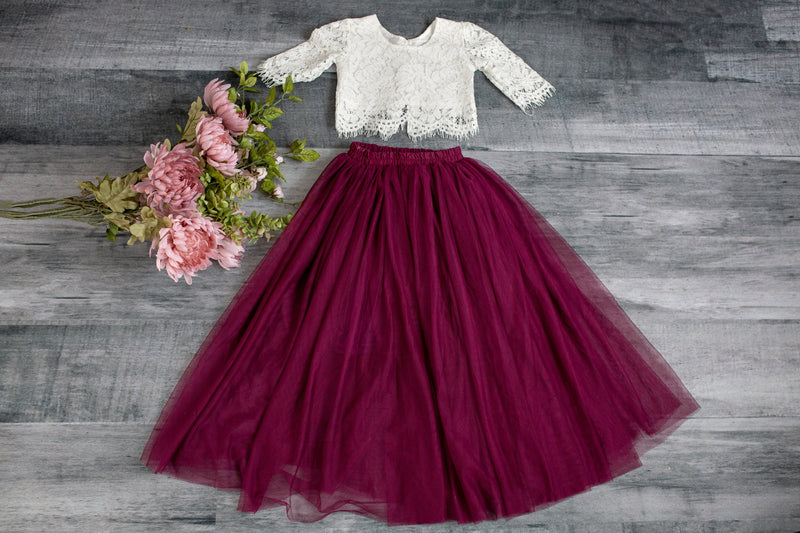 White Lace Top and Plum Tulle Skirt Set
