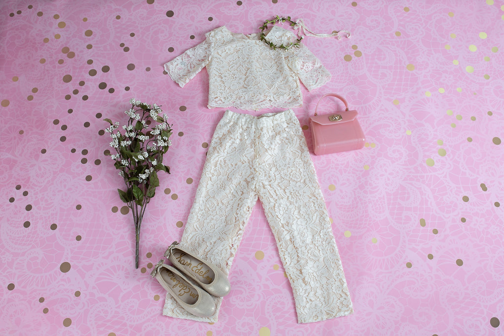 IVORY PETAL LACE TOP AND PANTS