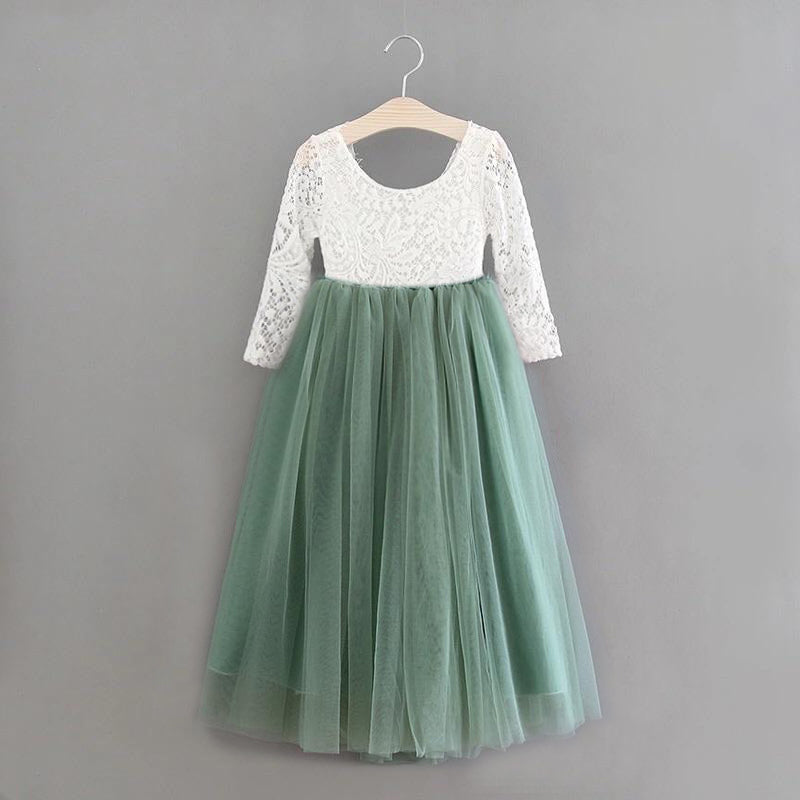 Full Length Sage Green Tulle Lace Top Scalloped Edges Back Party Flower Girl Dress