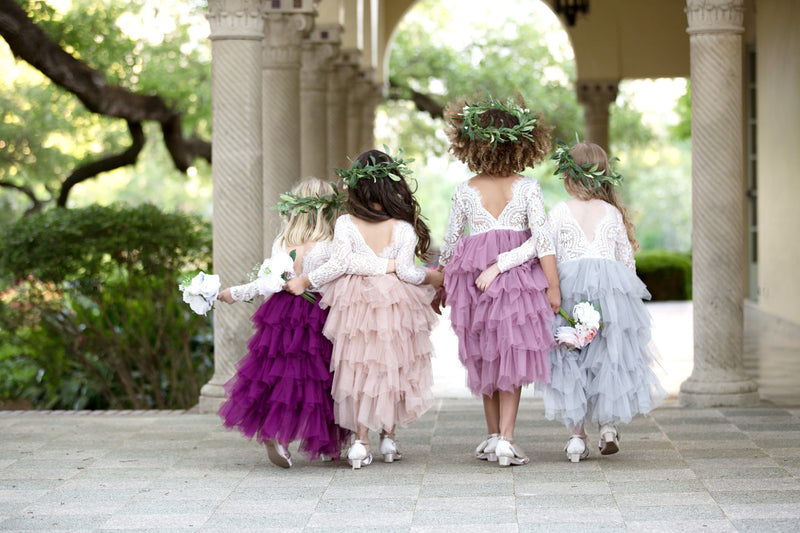 Tea Length Mauve Tiered Tulle Tutu Lace Top Scalloped Edges Back Party Flower Girl Dress