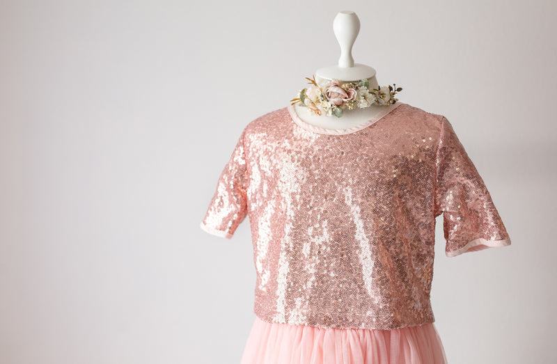 Rose Pink Sequin Top and Tulle Skirt