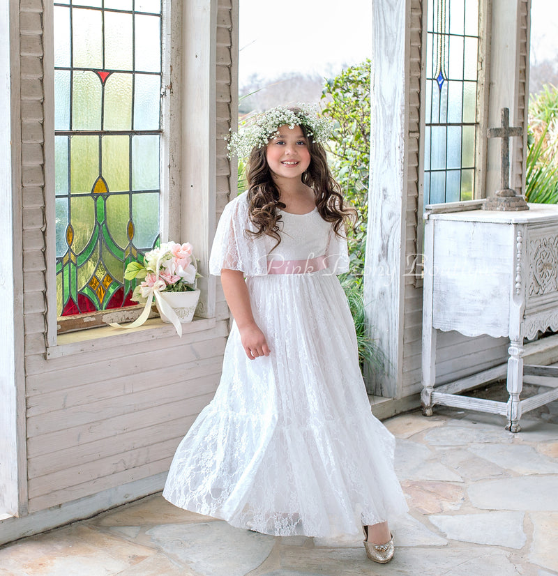 ALL LACE BOHEMIAN STYLE FLOWER GIRL DRESS