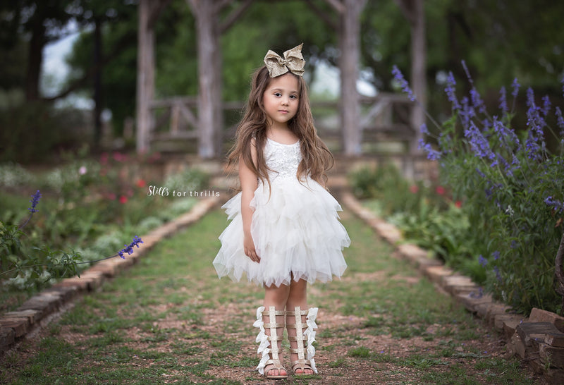 Tea Length Tan Tiered Tulle Tutu Lace Top Scalloped Edges Back Party Flower Girl Dress