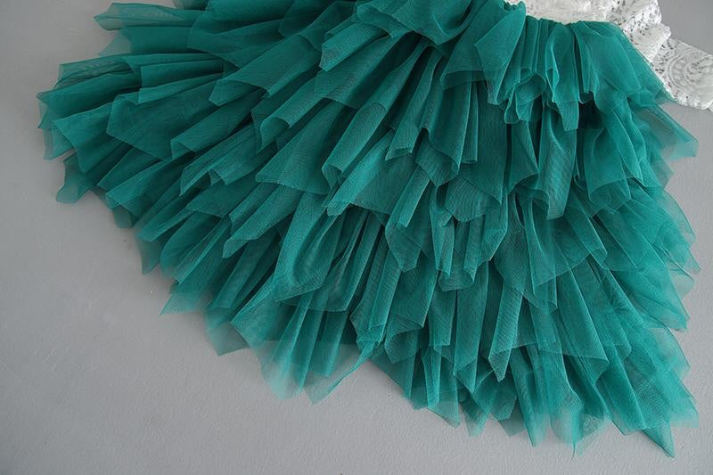 Tea Length Pine Green Tiered Tulle Tutu Lace Top Scalloped Edges Back Party Flower Girl Dress