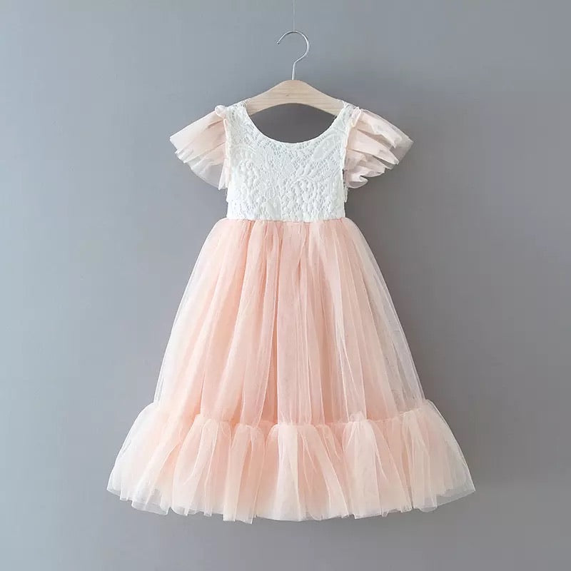 Ruffle cup sleeves lace tulle dress