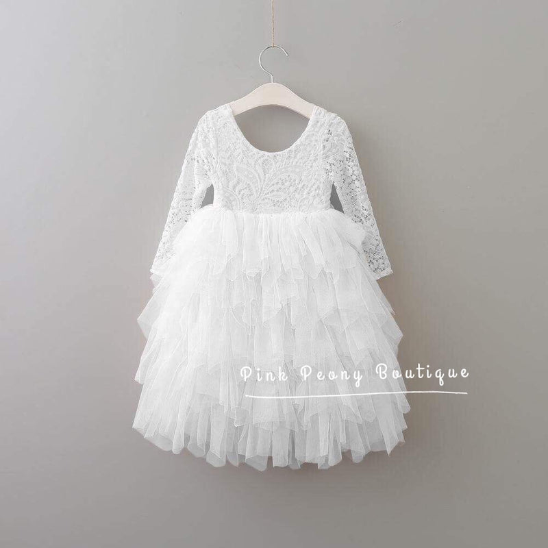 Tea Length White Tiered Tulle Tutu Lace Top Scalloped Edges Back Party Flower Girl Dress