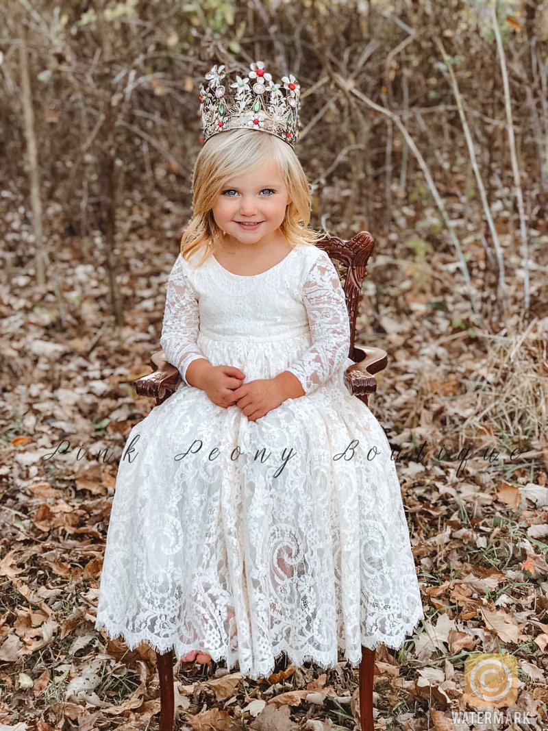 Long Sleeve Dusty Coral Lace Over Flower Girl Dress