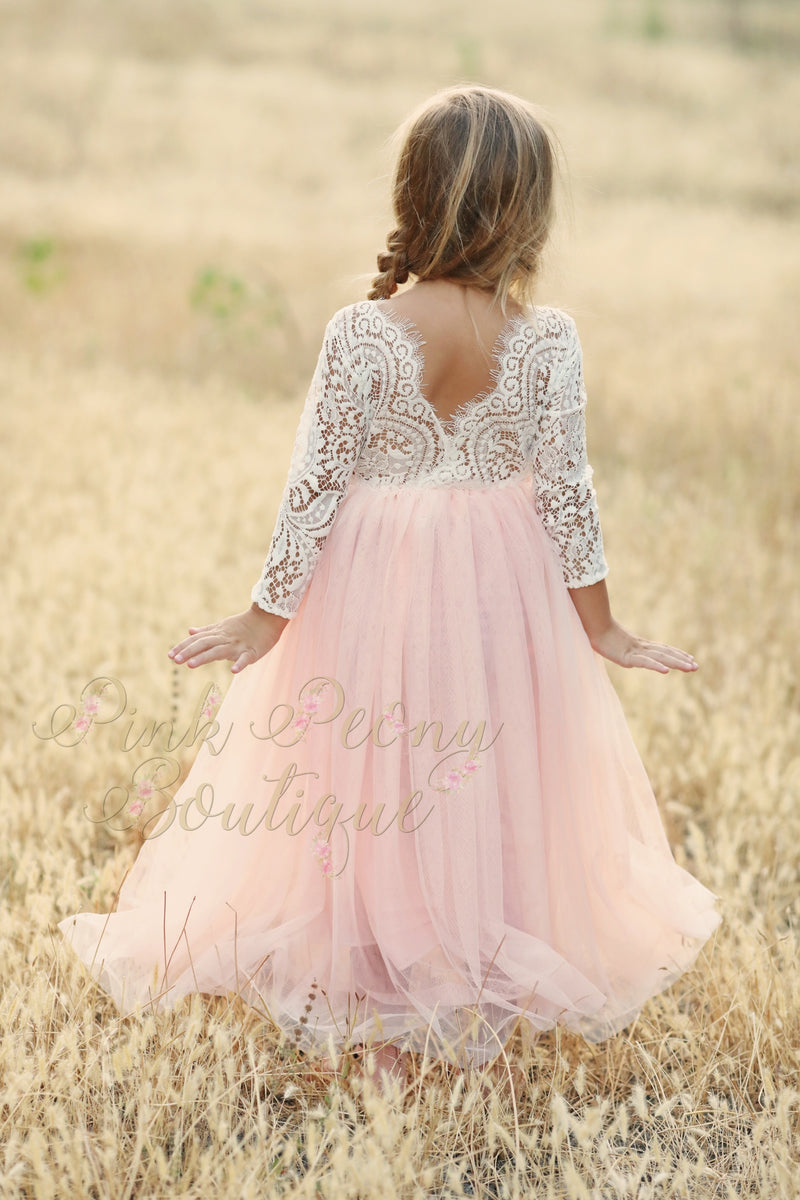 Pink Tulle Lace Top Scalloped Edges Back Party Flower Girl Dress