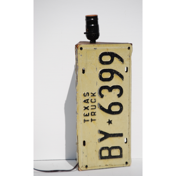 Vintage Texas License Plate Lamp