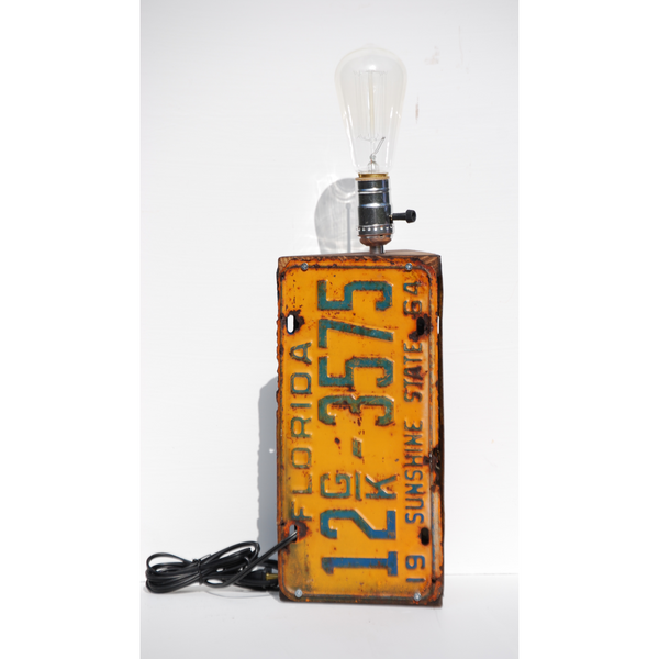 Vintage Florida License Plate Lamp