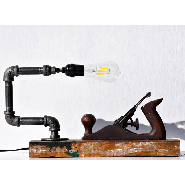 Antique Planer Pipe Lamp