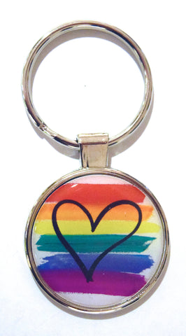Rainbow Heart Dome Keychain (Pack of 12)