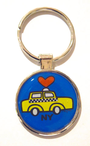 Taxi Heart NY Dome Keychain (Pack of 12)