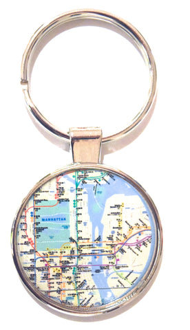 MTA Subway Map NY Dome Keychain (Pack of 12)