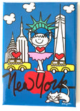 Bella Ballerina New York Magnet featuring an adorable little girl with New York landmarks on a glossy metal magnet.