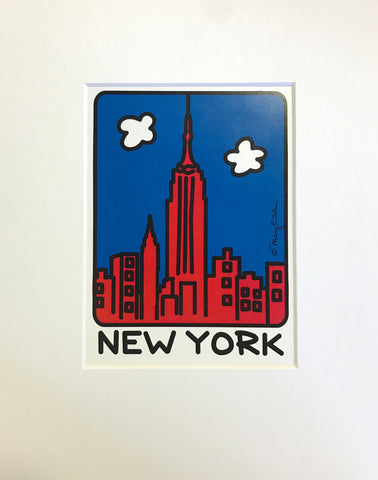 New York Red Skyline Print (Pack of 6)
