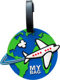 Airplane cute luggage tag with an airplane traveling around the world. Heavy duty raised surface PVC luggage tag with globe. Hidden address compartment. Sold in bulk pack of 6.