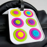 Circles White 3-D Luggage Tag (Pack of 6)