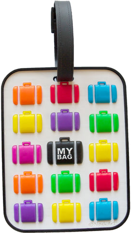 Multi Suitcase White 3-D Luggage Tag (Pack of 6)