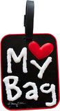 My Bag Heart Black 3-D Luggage Tag