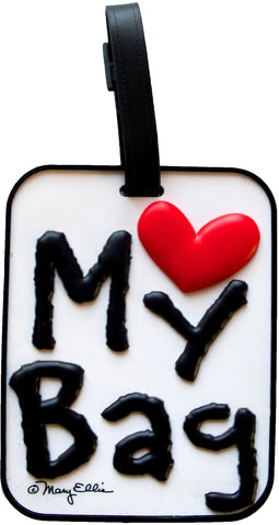 My Bag Heart White 3-D Luggage Tag (Pack of 6)